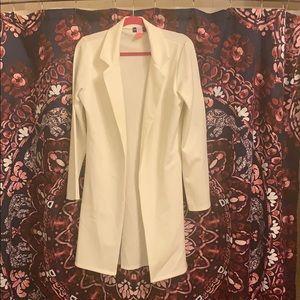 White pretty little thing long length blazer